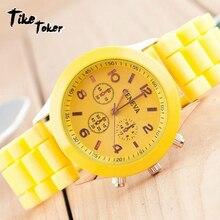 TIke Toker marque de luxe Silicone montre à quartz femmes hommes dames mode bracelet montre-bracelet montre-bracelet relogio feminino masculino