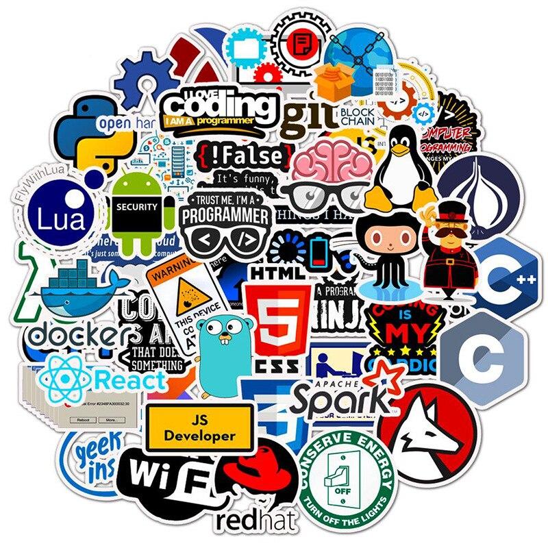 50 шт. интернет Java наклейка гик программист php-docker Html Биткоин облако C + + язык программирования для ноутбука автомобиля DIY стикер s