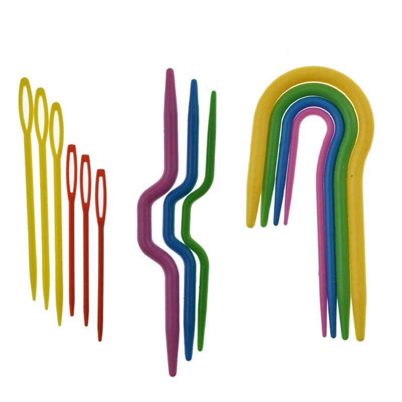 13 piezas 3 juegos de agujas de tejer de plástico ABS agujas de tejer agujas de punto suave U gancho de ganchillo y agujas de L marcadores aguja Clip