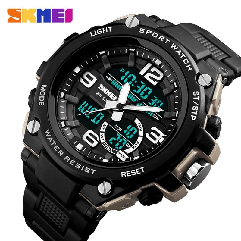Мужские спортивные часы, цифровые светодиодные армейские часы для дайвинга 50 м, повседневные электронные наручные часы, Relojes SKMEI 2018