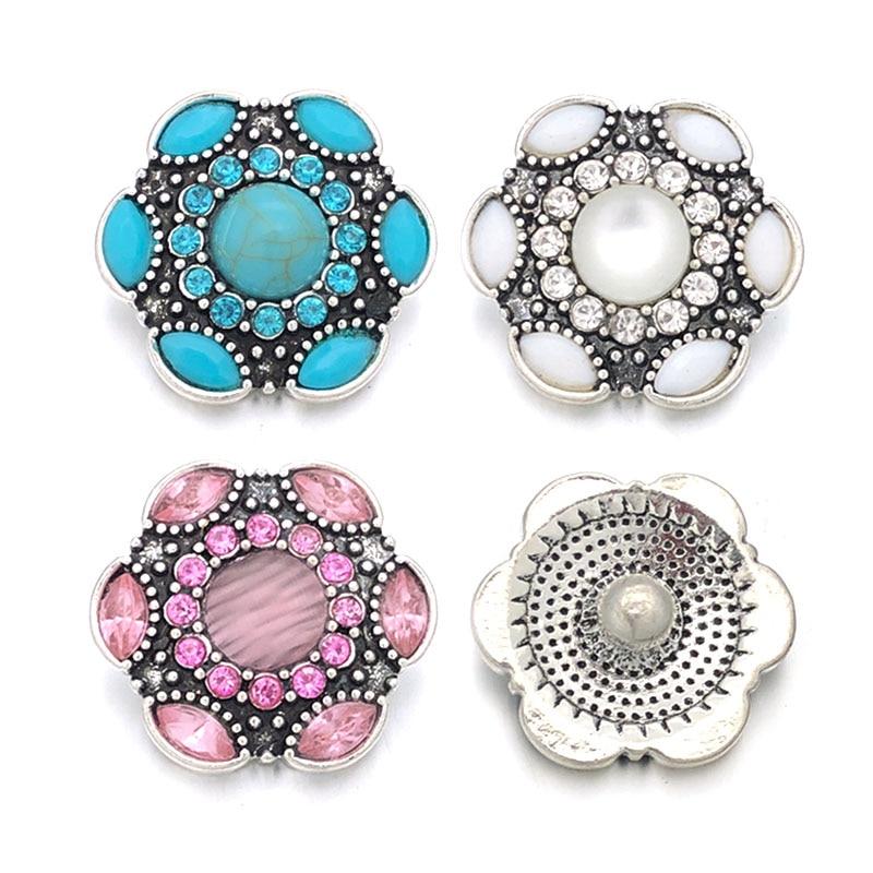 Fashion 008 Flower 3D 18mm Metal Snap Button For Bracelet Necklace Interchangeable Jewelry Women Accessorie Findings