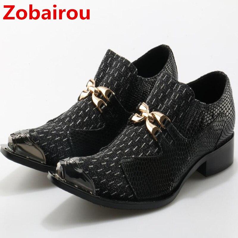 Zobairou zapatos clásicos para hombre mocasines con punta negro boda oro vestido zapatos brogue zapatos planos slip on shoes-fábrica- directa