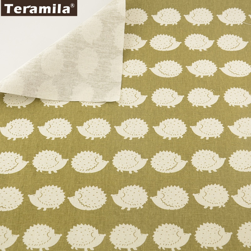 TERAMILA, Material de lino de algodón para costura de tela, Tissu, diseño de caricaturas de erizo, mantel, almohada, bolsa, cojín de cortina