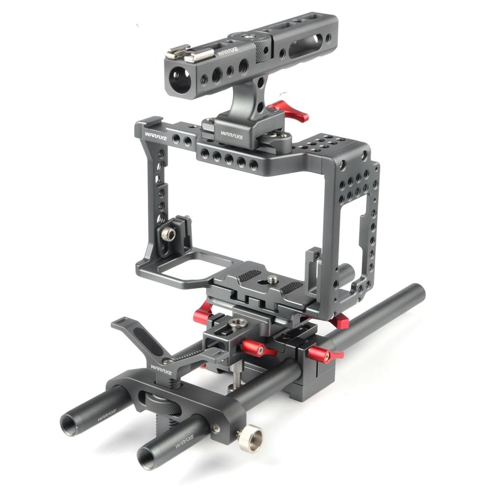 WARAXE هيكل قفصي الشكل للكاميرا لسوني A7 III A7II A7S A7SII A7R A7RII A7R3 M3 ، مع مقبض علوي ، لوحة أساسية Arca ، حامل عدسات
