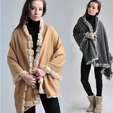 Fashion Scarf Women New Winter 100% Wool With Four Sides Rabbit Fur Shawl Scarf Warm Wool Scart Brand
