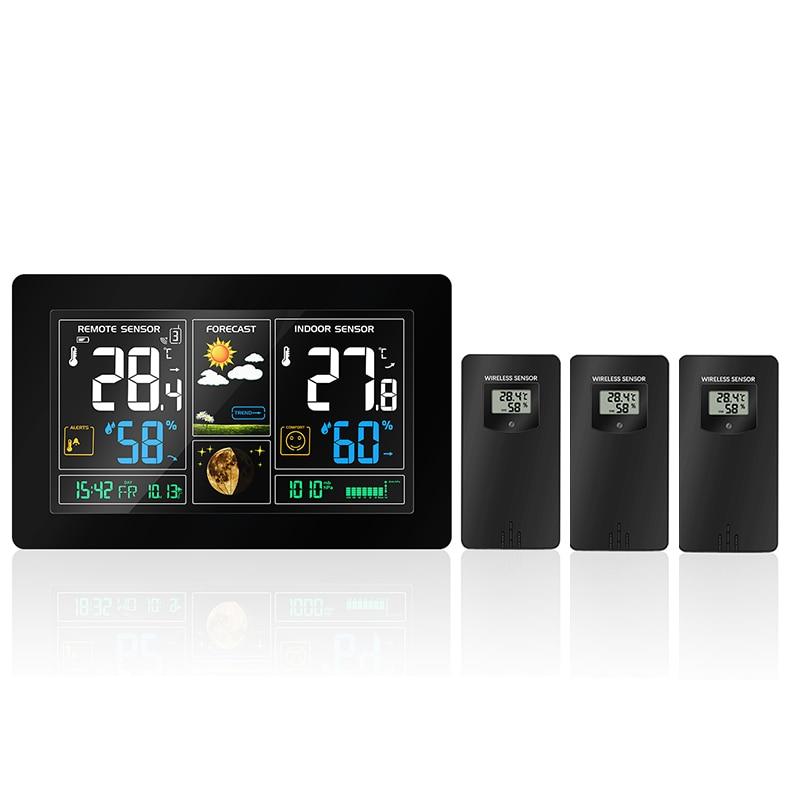 3 sensores al aire libre Estación Meteorológica Inalámbrica pantalla LCD Color temperatura humedad pronóstico del tiempo RCC despertador