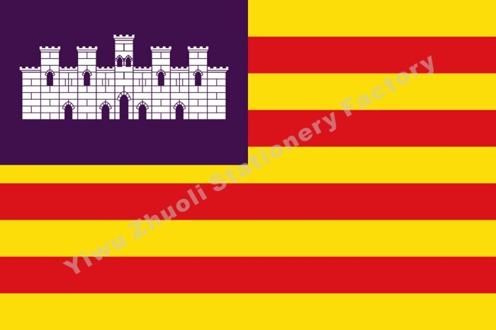 Balearic Islands Flag 150X90cm (3x5FT) 120g 100D Polyester Double Stitched High Quality Free Shipping Spain