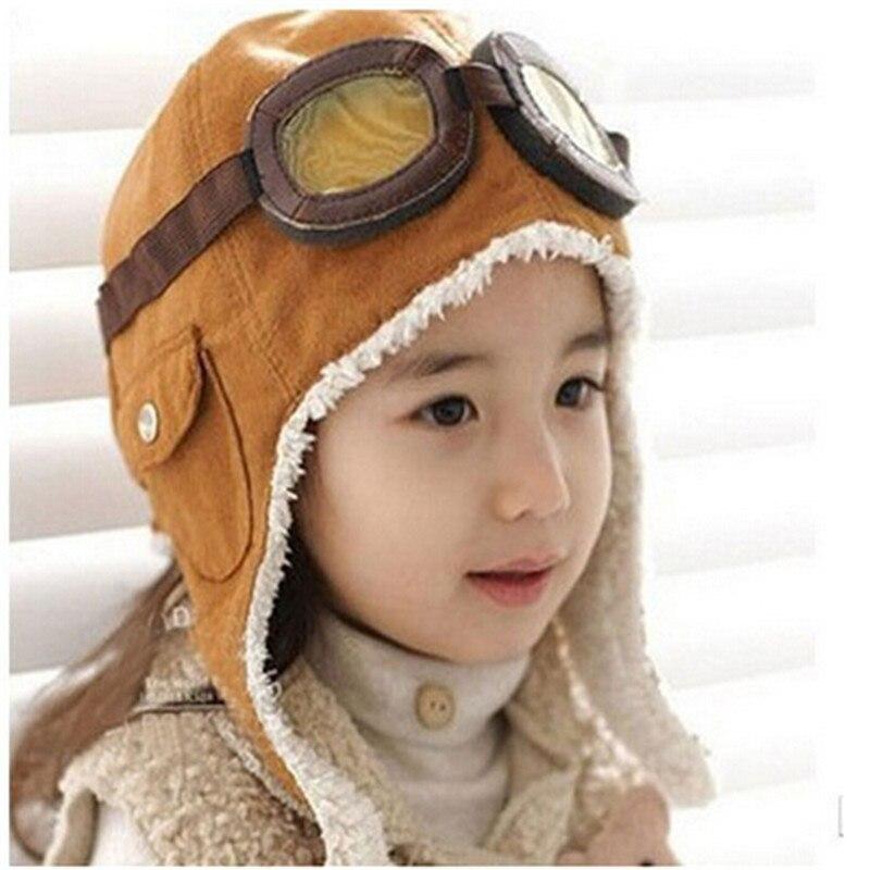 Nova moda bonito do bebê do inverno da criança do bebê da menina do menino crianças piloto aviador quente boné gorro piloto tampas 2 cores