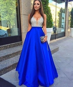 Royal Blue Robe De Soiree A-line Deep V-neck Tulle Beaded Crystals Sexy Long Party Prom Dresses Prom Gown Evening Dresses