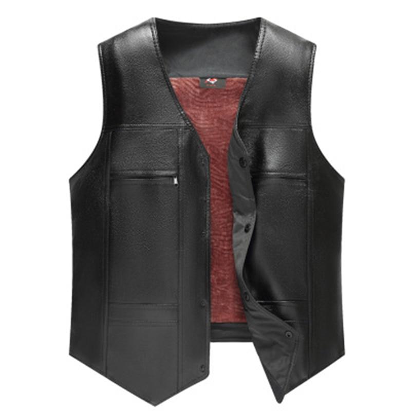 Bigsweety New Fashion Men PU Leather Fleece Vest Large Size Autumn Winter Middle-aged Fashion Men's Loaded Fleece Vest Coat