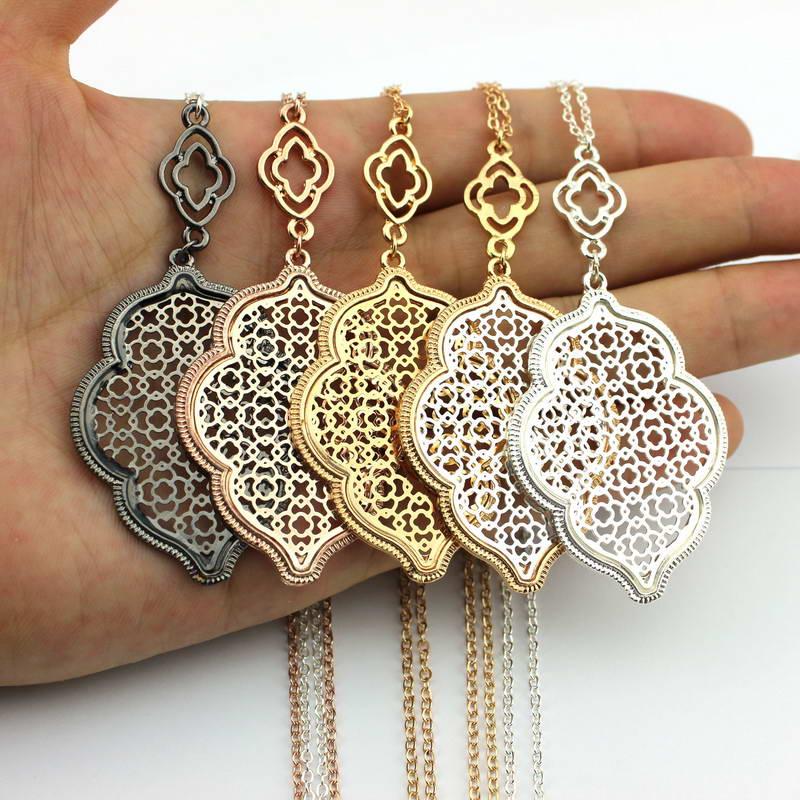 Cut Off Gold Filigree Quatrefoil Statement Long Chain Cutout Clover Pendant Necklace for Women Jewelry