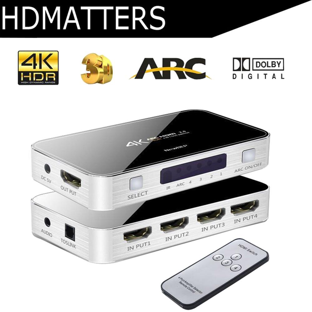 4 K/60 HZ HDMI Switcher con audio toslink y aux HDR HDMI ARC HDMI 4 en 1