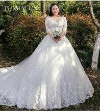 Demi manches Vestido De Noiva dentelle robes robe De mariée Train sur mesure grande taille mariée Tulle Mariage