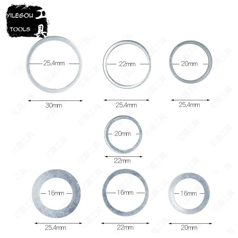 7 Uds., 30mm a 25,4mm, hojas de sierra, anillo de conversión de 25,4mm a 20,0mm, anillo de cambio para hojas de sierra Circular de 20mm a 16mm. Espesor 1,2mm