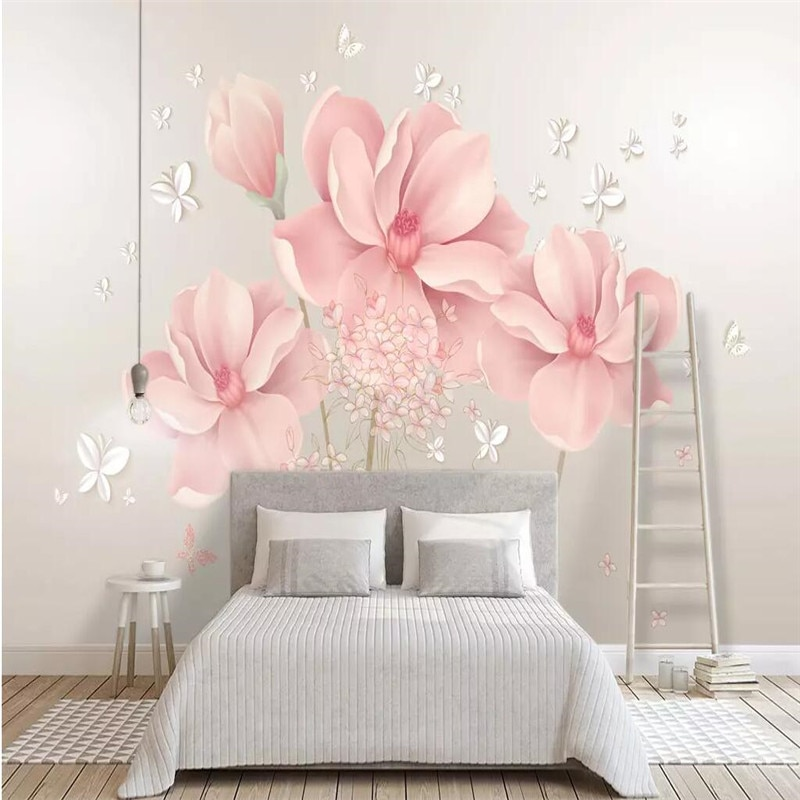 Modern minimalist pink flowers background wall professional production mural custom photo wallpaper