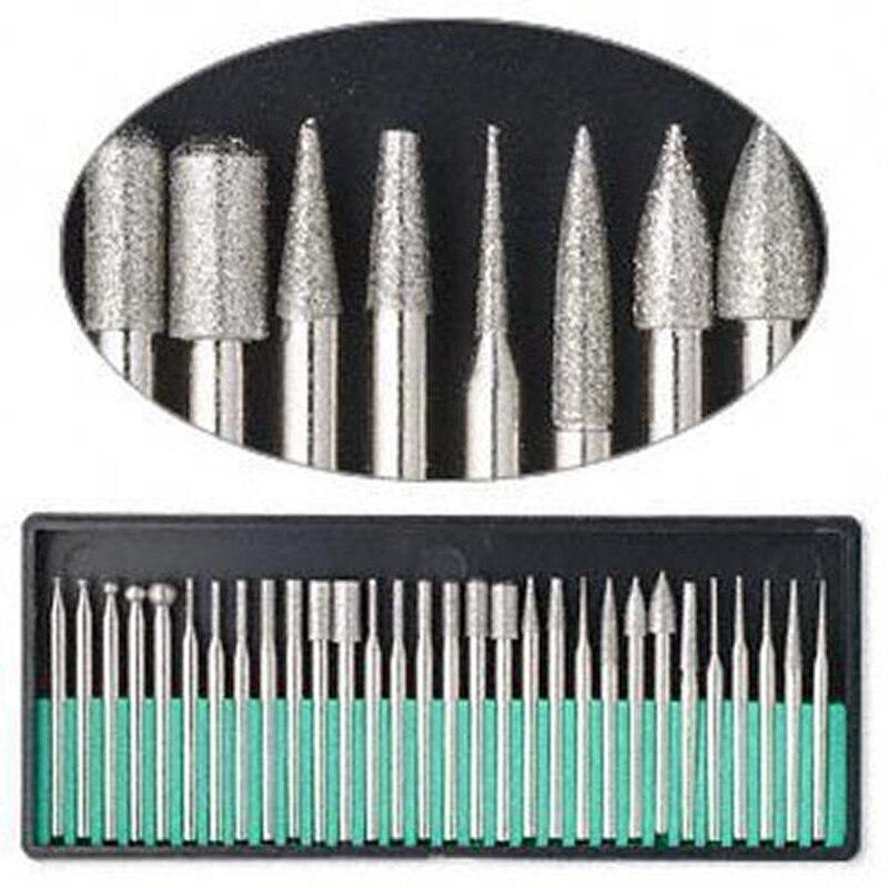 Бесплатная доставка 30 шт. набор алмазных буровых долот DREMEL 3,1 мм хвостовик роторный инструмент сверло для шлифовки нефрита, камня, мраморного стекла