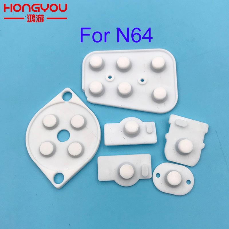100 conjuntos de peças de reparo para nintendo n64 controlador joy pad botão condutor silicone borracha almofada