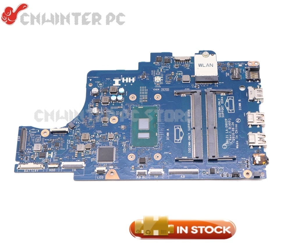 Nokotion bal21 LA-D802P placa principal para dell inspiron 15 5567 computador portátil placa-mãe celeron 3865u cpu ddr4