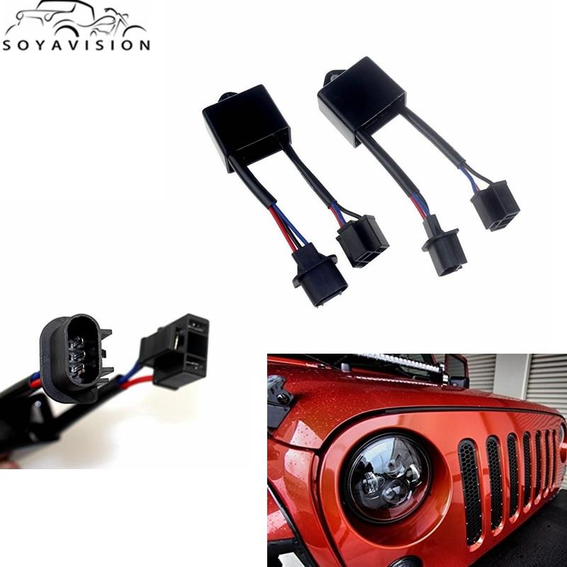 "SOYAVISION 7 ""H4-To-H13 de faro Led para coche para Jeep Wrangler JK decodificadores antiparpadeo que se ajustan a cualquier faro LED redondo H4 7"""