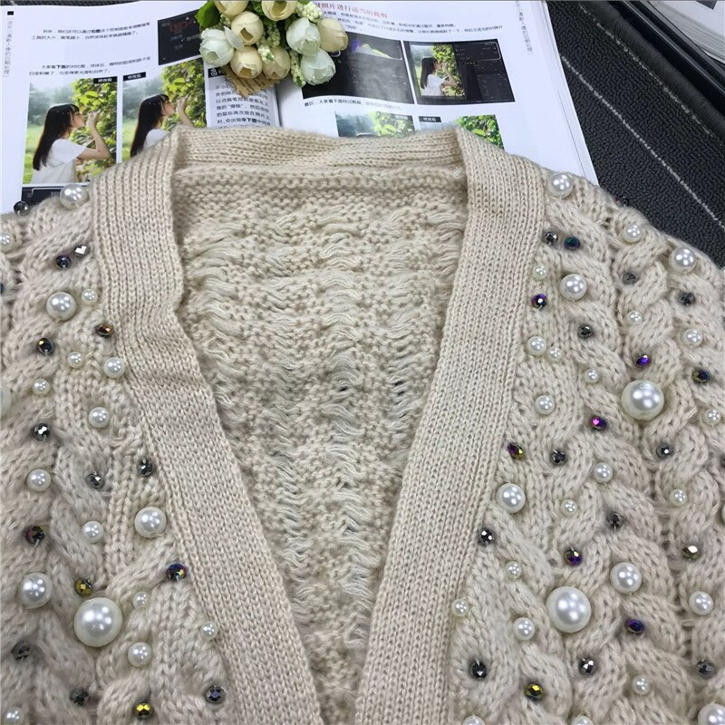 Jumper Poncho New Arrival Women Sweaters And 2020 Ladies Wind Heavy Manual Nail Beaded Drill Twist Knit Cardigan Sweater Female enlarge