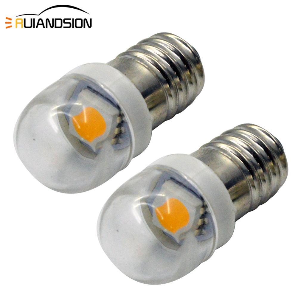 2pcs Lamp E10 LED Bulb 3v 6v 12v 1smd Lamp 0.5w 5050 White Screw Plug LED Indicator Light Source Accessories Warm white 4300k