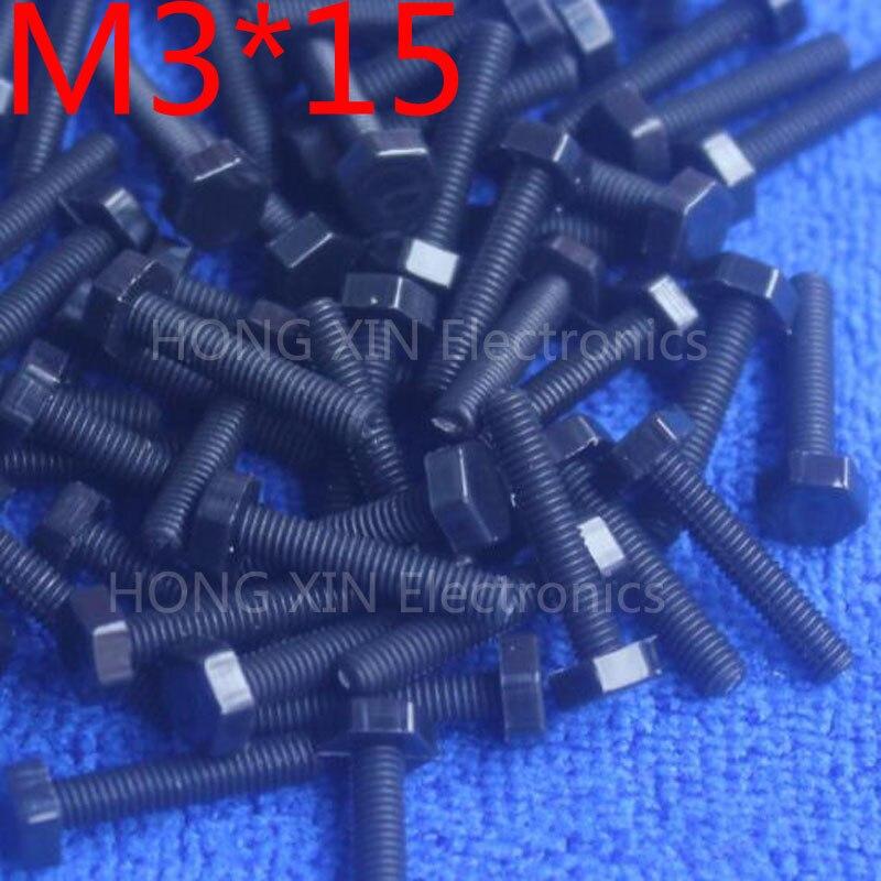 M3*15 15mm black 1pcs Hexagonal nylon Screws plastic Insulation bolts Fasteners brand new RoHS compliant PC/board DIY screw