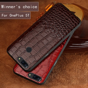 Genuine Leather Brand crocodile pattern soft case for OnePlus 5T phone shell 390-degree all-inclusive For OnePlus 5 phone case