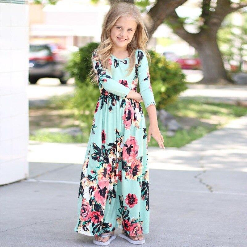 Vestido de manga larga con estampado Floral para niñas y niñas para fiesta de otoño 2018
