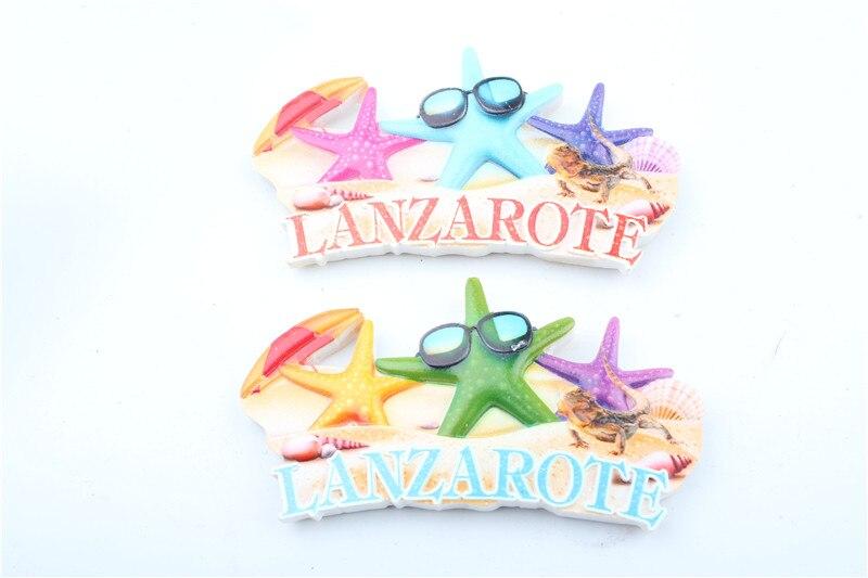 Legal starfish estilo praia lanzarote resina lembrança 3d presente geladeira ímã para crianças geladeira adesivos magnéticos para pequeno presente