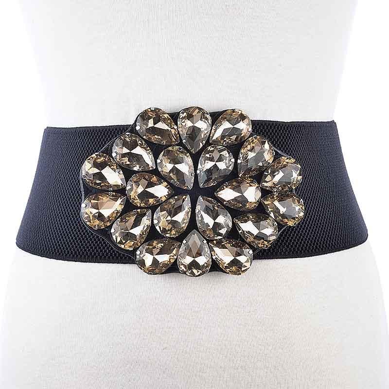 Cinturón de mujer elegante de diamantes de imitación de moda occidental con cristales cintura para mujer cinturón elástico para falda vestido ceñido en la cintura BL231