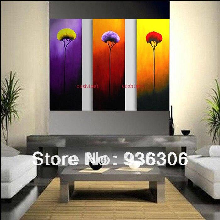 Cuadros de pared grandes lienzo arte barato imagen en lienzo 3 Psc/set flor pintura de mano pintura al óleo para la vida casa habitación Decoración