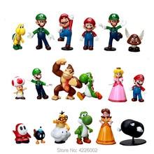 Фигурки супер Mario Bros Luigi Yoshi Ослик kong, 18 шт., ПВХ, фигурки, Пич, ромашка, копа, Жаба, миниатюрные куколки статуэтки, детские игрушки