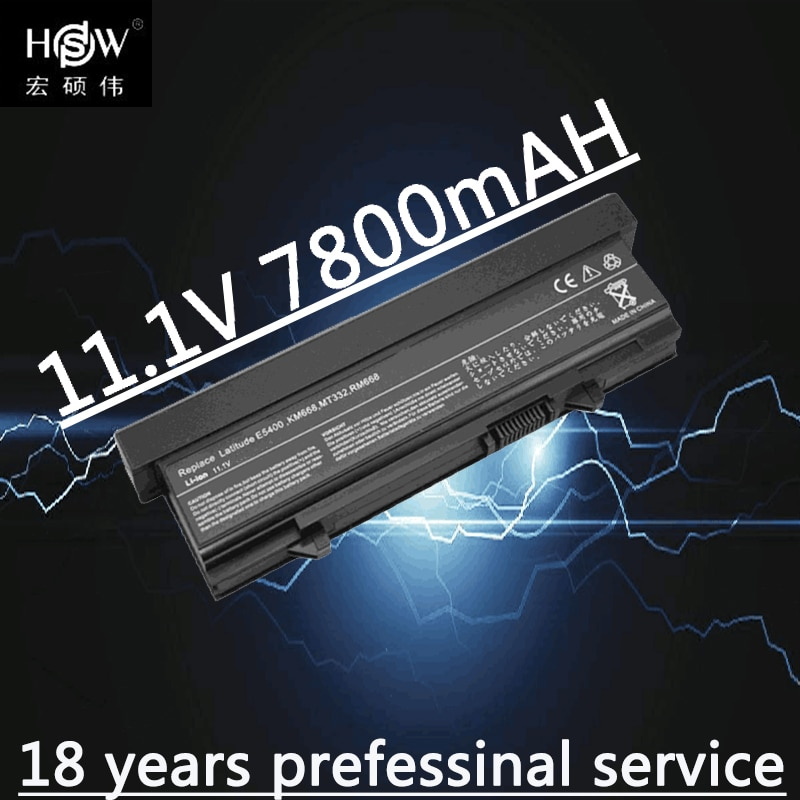 HSW 7800MAH nueva batería del ordenador portátil de 9 celdas para DELL Latitude E5400 E5500 E5410 E5510 KM742 KM752 MT186 MT187 bateria