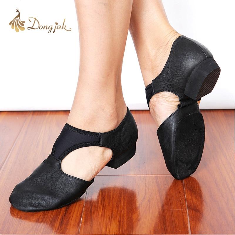 Женские тянущиеся туфли из натуральной кожи для джазовых танцев, балетные туфли для танцев, тапки сандалии для занятий спортом, 1305