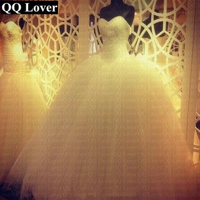 QQ عاشق 2021 رداء دي ماريج الأميرة بلينغ بلينغ فاخر بلورات بيضاء الكرة ثوب الزفاف مخصص Vestido De Noiva