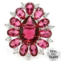6 0g real 925 solid sterling silver deluxe pink raspberry rhodolite garnet cz rings 28x25mm