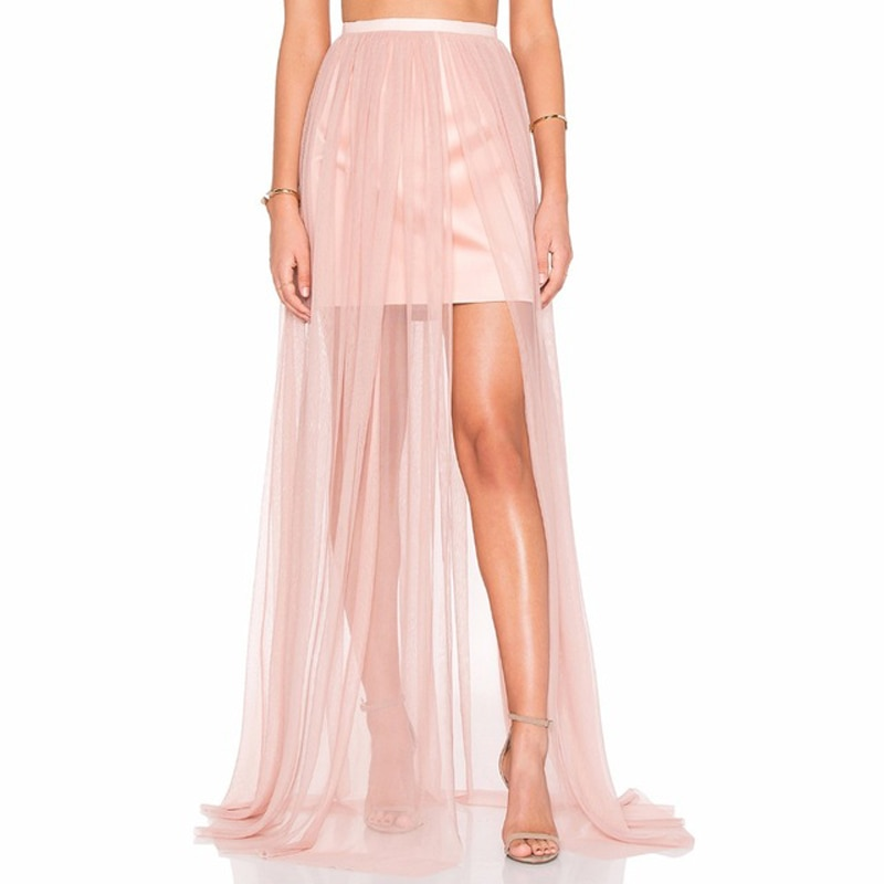 Falda larga de tul de 1 capa, Sexy, transparente, de malla Rosa transparente, Maxi falda con Forro corto, estilo veraniego 2017, moda Saia Longa