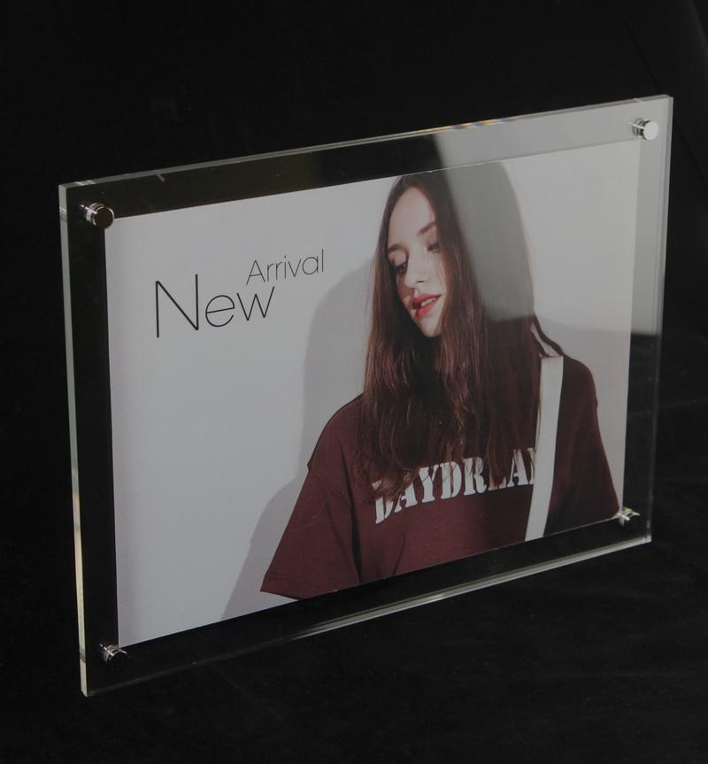 Marcos para carteles de acrílico de plexiglás con imagen A4 8x11,5 pulgadas montados en la pared Marco de certificado flotante rectangular para fotos de acrílico