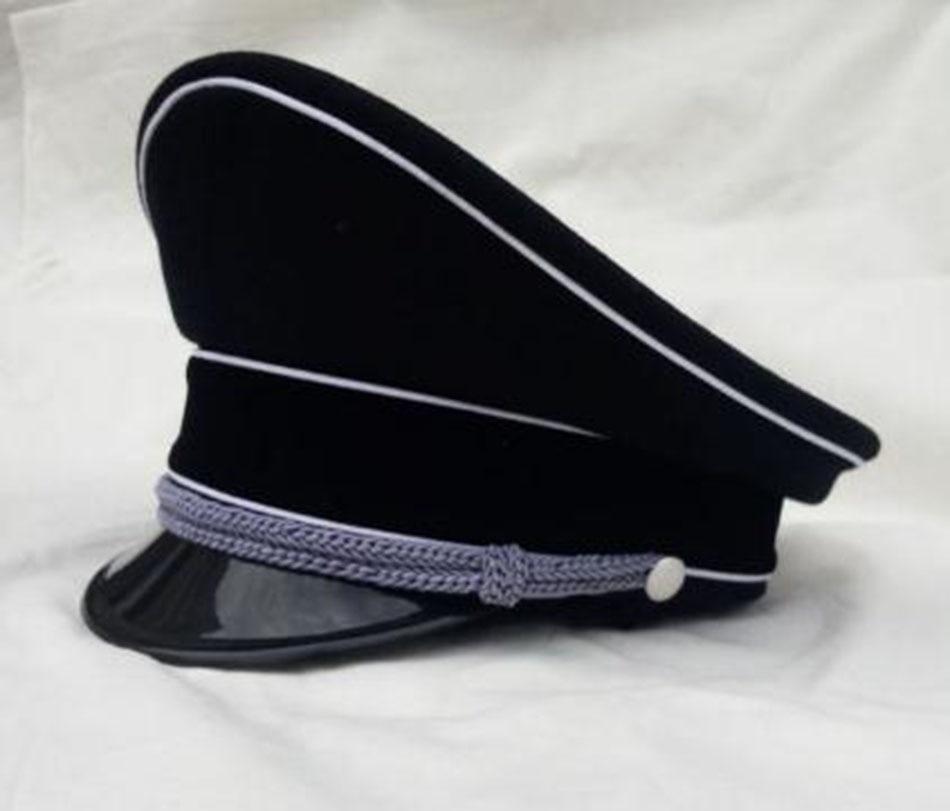 WW2 gorras militares coleccionables oficial negro sombreros de ala grande Cloth-DE075 de lana