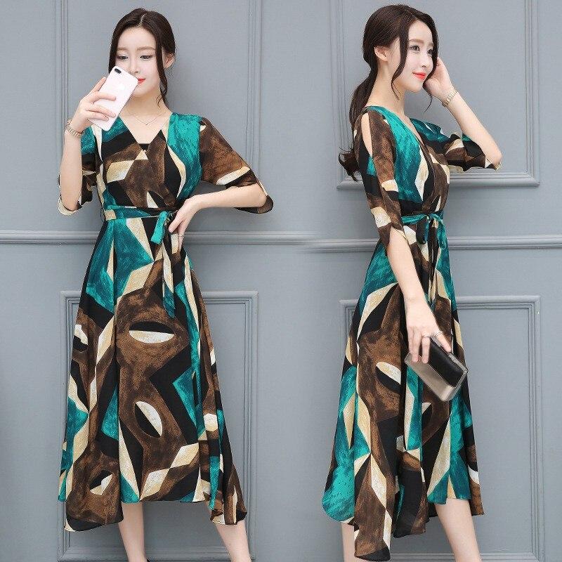 Vintage Korean style V neck High Waist Dress Summer Mid Calf Dress Women Elegant Half sleeve Printed Dresses Streetwear