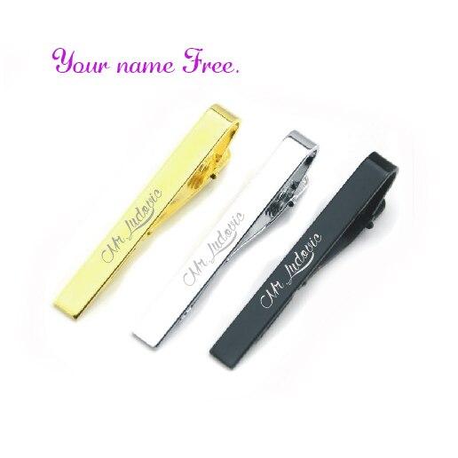 Moda plata y oro Simple corbata Pin personalizado gratis con tu fecha de boda y nombres de boda 30 piezas boda favores