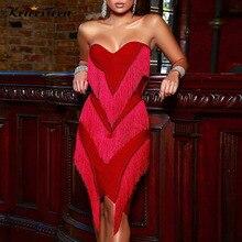 Kricessee Sexy haute qualité élastique gland genou longueur robe femmes été sans bretelles moulante fête Clubwear robe Vestidos