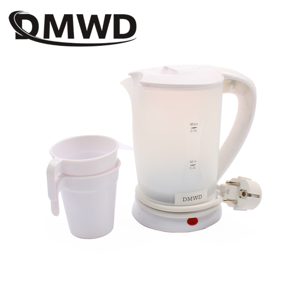 Teteras de calefacción eléctrica de viaje de doble voltaje DMWD, calentador de agua, Caldera, Mini taza, hervidor de agua caliente portátil, 0.5L 110V 220V EU US