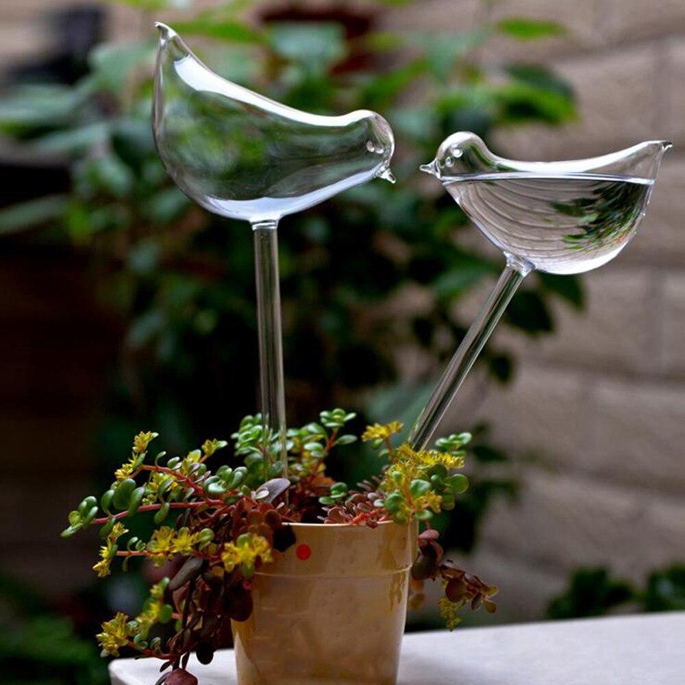 2 uds planta doméstica de jardín regadera automática de vidrio para aves regaderas de flores planta de cristal transparente decorativo Dispositivo de riego @ P