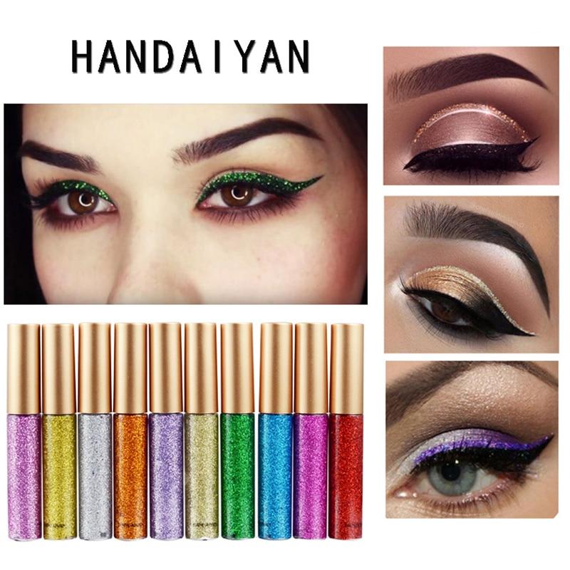 10 Colors Glitter Bright Flashing Eye Liner Quick To Dry Waterproof Glitter Diamond Eyeshadow Liquid Eyeliner Beauty Makeup
