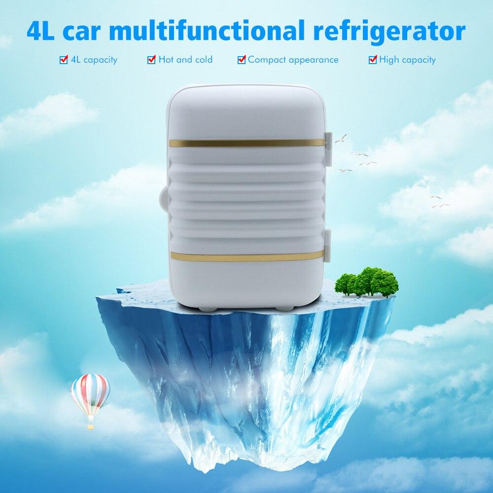 Minirefrigerador portátil 2 en 1, 4L, nevera más caliente para el coche, hogar, oficina, blanco, rojo, azul, verde, 12V