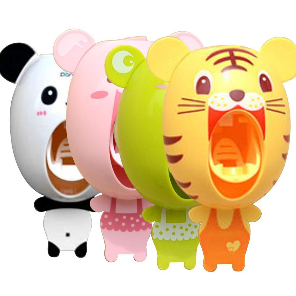 Exprimidor automático de pasta de dientes para baño con animales de dibujos animados