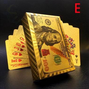 Cartas de plástico impermeables de estilo europeo de dólares, cartas de póquer doradas de papel de aluminio, juegos de mesa de póquer chapados en 24K