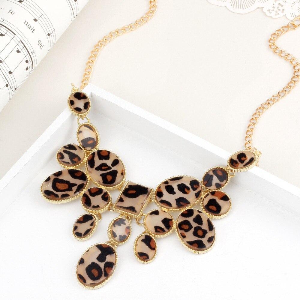 Collares con cadena de oro y colgantes para las mujeres Collier Femme leopardo declaración geométrica Colar Maxi joyas de cristal de moda Bijoux