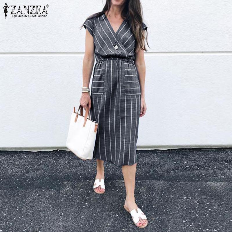 ZANZEA 2019 Escritório Verão Senhora Vestido de Trabalho Moda Mulheres Curto Vestidos Casuais Listradas Bolsos Cintura Elástica Vestido de Praia Vestido de Verão